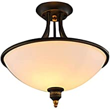 Vintage Ceiling Light Fitting Simple Round Personality Semi-Flush Mount Ceiling Lamp Glass Lampshade Home Indoor Lighting ...