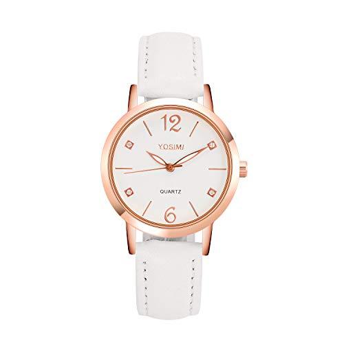 Orologio da donna impermeabile in oro rosa - orologio da polso da donna YOSIMI con cristalli di cristallo in acciaio inossidabile impermeabile cinturino in pelle