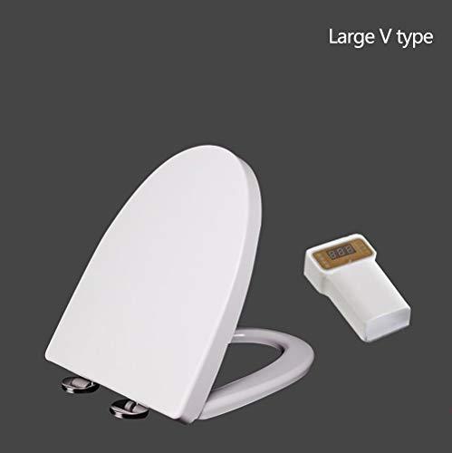 ARAYACY WeißEr Toilettendeckel, Elektrisch Beheizter Toilettendeckel Intelligenter Automatischer Thermostatischer Toilettendeckel Einstellbare Temperatur-Sofortheizring,LargeVtype