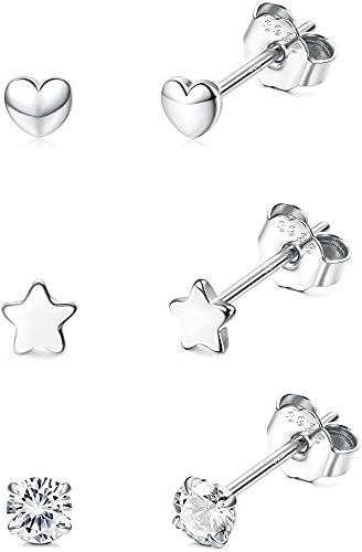 YADOCA 3 Pare Plata de Ley 925 Pequeño Pendientes Studs Set para Mujer Niña Pendientes Corazon Estrella Pendientes Circonita Piercing Arete