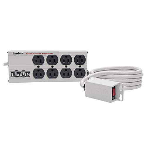 Tripp Lite Isobar 8 Outlet Surge Protector Power Strip with Remote Switch, 12ft Cord, Right-Angle Plug, Metal, & $50,000 INSURANCE (ISOBAR8RM)