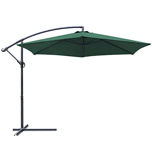 Greesum Offset Umbrella 10FT Cantilever Patio Hanging Umbrella Outdoor Market Umbrella with Crank and Cross Base (Dark Green)
