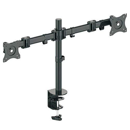 """deleyCON Universal DUAL Monitor Tischhalterung - 10\"""" bis 27\"""" Zoll (25cm-69cm) - bis je 8Kg - max. VESA 100x100mm - Neigbar + Schwenkbar - für 2 Monitore"""
