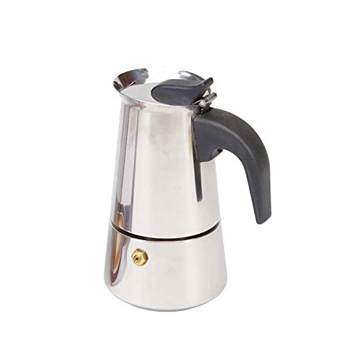 Cafetera de acero inoxidable | Cafetera Moka para inducción capacidad de 2 a 12 tazas | Cafetera espresso con filtro desmontable y mango ergonómico antiquemaduras (2 Tazas)