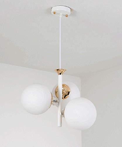 WGFGXQ Sala de Estar Dormitorio Araña Barra Decorativa Lámpara Colgante Lámpara de Bola de Cristal Creativa para Restaurante Lámpara de Escalera Minimalista Moderna Lámpara de Techo de 3 Luces (Col