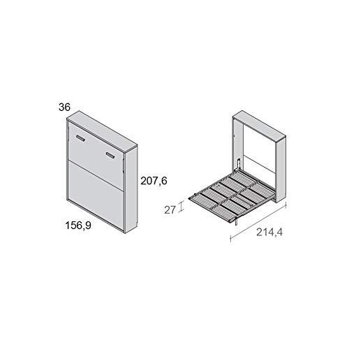 Meubles ROS Lit escamotable pour Matelas de 190x135cm - 207,6x156,9x36cm - Chêne/Gris Ardoise