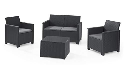 Keter Emma Lounge Set, Mobili da Giardino con Divano 2 Posti, 2 Poltrone e Tavolino, Grafite