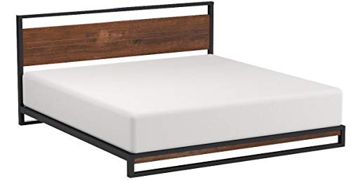 Zinus Suzanne Metal and Wood Platform Bed with Headboard / Box Spring Optional / Wood Slat Support, King