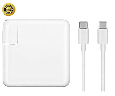 Replacement MacBook Pro Charger, 61W USB-C to USB-C Ac Power Adapter Charger Compatible with MacBook Pro 13 Inch 12 Inch MacBook Air 13 Inch (White)