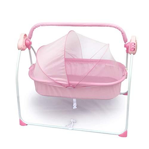 Witou Cuna recién Nacida portátil, coctelera eléctrica, Cesta Durmiente Plegable, Cama de Cuna, Cama automática para bebés mentiras, Silla de balanceo (Color : Pink2)