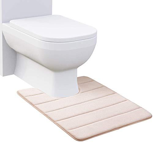 Homaxy Memory Foam rutschfeste Weiches Vorleger Toilette mit Ausschnitt 50 x 60 cm, Saugfähig Badematte Stand WC, Waschbar Badteppiche für WC, Beige
