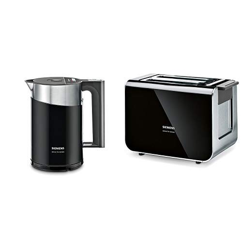 Siemens TW86103P Wasserkocher (2400 W, Temperaturauswahl, Abschaltautomatik, Warmhaltefunktion, Überhitzungsschutz, Fassungsvermögen 1,5 L) schwarz/anthrazit & Siemens TT86103 Toaster / 860 Watt