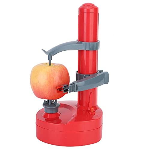 イージーピーラー 電動皮むき器 皮むき器 フルーツカッター 野菜 果物 多機能 野菜 果物 りんご なし じゃがいも キッチン用品 便利(赤)