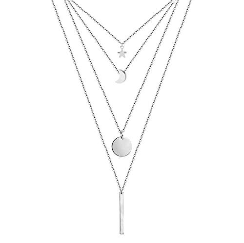 DDYBF Collares de múltiples Capas para Mujer, Collar de Acero Inoxidable hipoalergénico, Idea de Accesorios de joyería