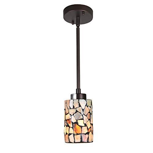 Artzone Tiffany Pendant Light Fixture Kitchen Island Hanging Lamp, Handmade Mosaic Stone Stained Glass 1-Light Small Hanging Light for Kitchen & Dining Room Table