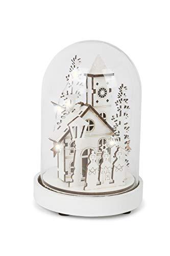 Kleine foot lichtklok winterdorp met LED-verlichting, gemaakt van fijn hout winterlandschap onder een glazen klok met houten voet, kerstdecoratie decoratieartikel, wit