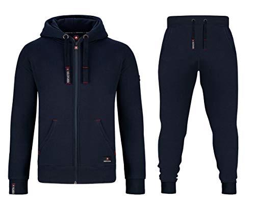 Northster Herren Joggingsuit aus Baumwolle Freizeitanzug Trainingsanzug Hausanzug, Navy, XL