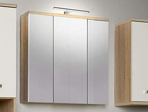 RASANTI Spiegelschrank Veris inkl. weißer LED-Beleuchtung Weiß/Sonoma Eiche