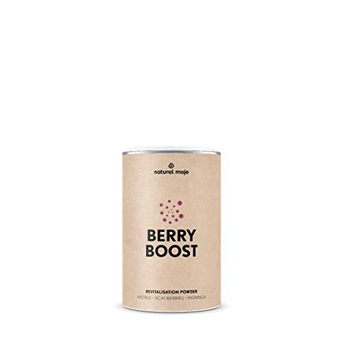 Natural Mojo Berry Boost – Superfood Pulver (153 g) – Vital Drink für geistige Aktivität – Instant Getränk vegan, gluten- und laktosefrei – mit Beeren-Geschmack