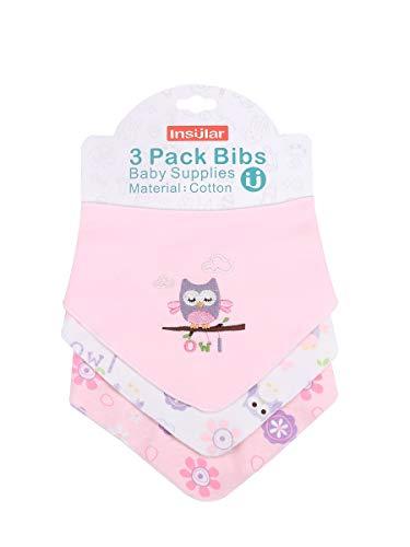 Enfant Bébé Bandana Dribble Bavettes avec Boutons De Presse Coton 0-3 Ans Pack De 6Pieces Pack,Owl