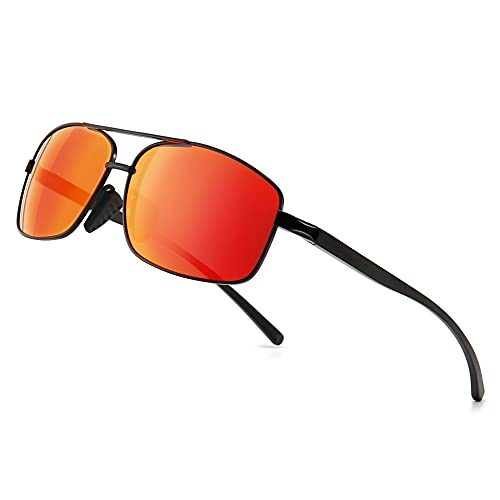 SUNGAIT Ultra Lightweight Rectangular Polarized Sunglasses UV400 Protection (Black Frame Red Mirror Lens, 62) Metal Frame 2458 HEKHO
