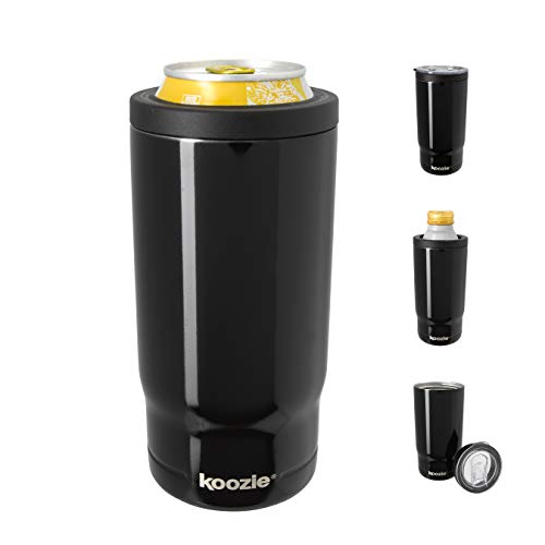 KOOZIE Stainless Steel Triple 3-in-1 Can Cooler, Bottle or Tumbler with Lid for 16 oz Tallboy Cans, Double Wall Vacuum Insulated for Hot and Cold Drinks   Black