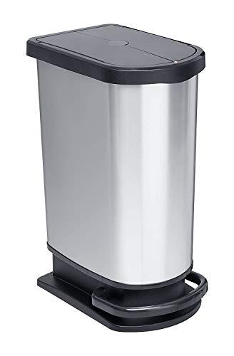 Rotho Paso Mülleimer 50l zur Mülltrennung mit Deckel und Pedal, Kunststoff (PP) BPA-frei, silber metallic, 50l (44,0 x 29,0 x 67,0 cm)