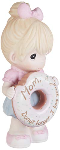Precious Moments 193013 Mom Forget I Love You Girl with Donut Bisque Porcelain Figurine, One Size, Multicolor