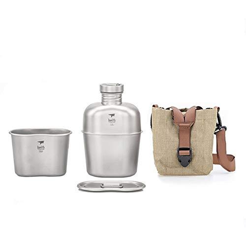 1100ml+700ml Titan Feldflasche Camping WasserFlasche Trinkflasche Becher