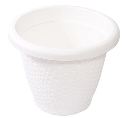 Hobby&Style 5141.0 Pot Rond rotin, Blanc, 25 x 25 x 20 cm