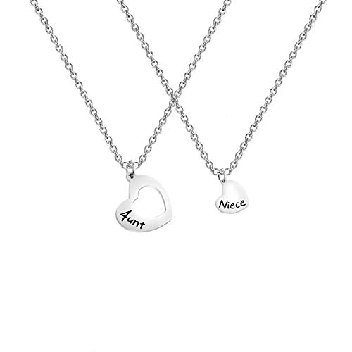AKTAP Gift for Aunt Necklace Auntie And Niece Love Heart Pendant Necklace Gifts for Aunt from Niece Nephew (Auntie Niece Pendant Necklace)
