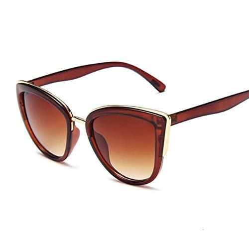 UKKD Gafas De Sol Vintage Gato Ojo Gafas De Sol Mujeres Moda Diseñador Gafas De Sol Gafas De Sol Sexy Leopardo Cateyes Negro Gradiente