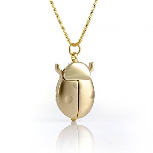 Reloj En Forma de Mariquita - Oro de Cuarzo - Colgante