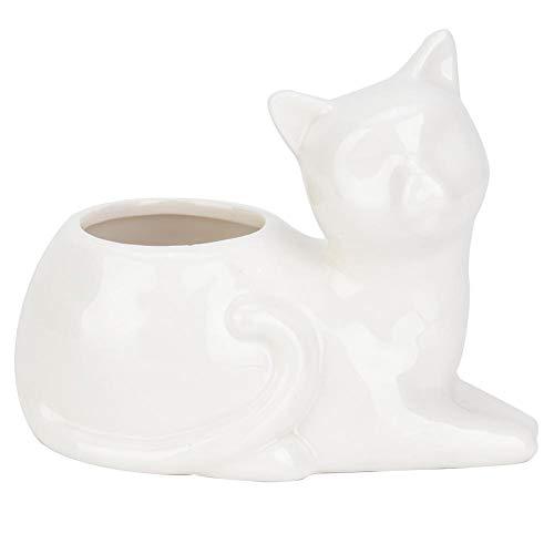 Jeffergrill 1 STÜCKE Keramik Harz Sukkulente Container Blumen Topf Pflanzer Garten(Weiße liegende Katze)