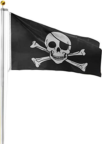 normani Aluminium Fahnenmast 6,20 6,80 oder 7,50 m Höhe inklusive Piratenflagge Totenkopf Fahne (90 x 150 cm) Farbe Totenkopf Größe 7.50 Meter