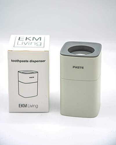 EKM Living automatischer Zahnpastaspender weiß/grau, inklusive Klebestreifen, leichte Montage ohne Schrauben oder Bohren