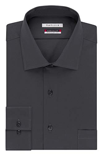 Van Heusen Men's Flex Collar Regular Fit Spread Collar Dress Shirt, Charcoal, 15.5' Neck 32'-33' Sleeve