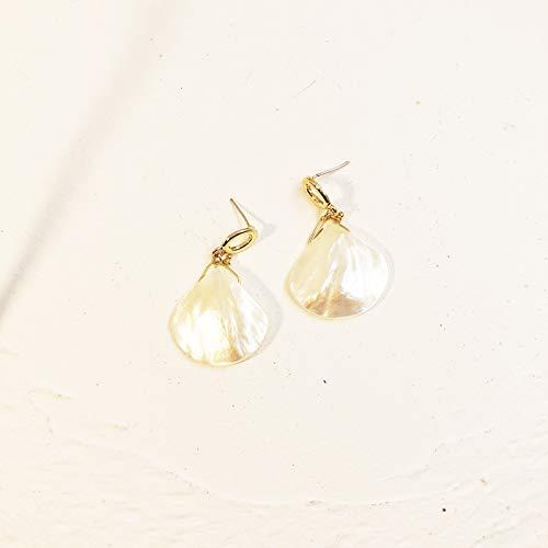 GOHHK Natural White Sea Shell Silber Tropfen Ohrhänger Frauen Mädchen Geschenk Strand Schmuck, Frauen Mädchen