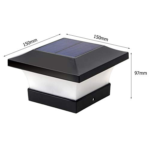 1/4/8 Stück wasserdichte Solar LED Pfostenleuchten Outdoor Garten IP65 quadratisch schwarz Landschaft Pfostenkappe Lampe für 4 x 4 Holzpfosten/Deck/Terrasse/Zaun Tageslicht weiß 6000 K 1 Stück.