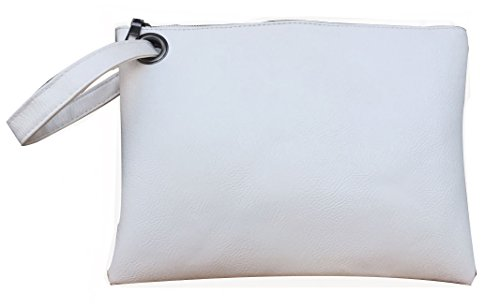 Hycurey Oversized Clutch Bag Purse and Handbag Womens Large PU Leather Evening Wristlet Handbags White
