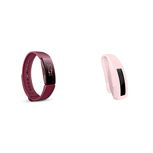 Photo of Fitbit Inspire Health & Fitness Tracker with Auto-Exercise Recognition, 5 Day Battery, Sleep &Swim Tracking, Sangria & Inspire, Accessory Clip, Soft Pink