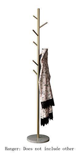 AXWT Multifunción Perchero Hierro Forjado Gran Percha Aterrizaje Habitación Sala Sala Decoración Perchas Simple Light 7 * Árbol Gancho de mármol Base (Color : Gold+White)