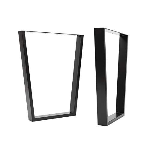 [HLC] Lot 2 pieds de table à cadre V industriels vis GRATUITES, guide de montage et protections de sol - 40 cm à 71 cm, 3 finitions [Table, Noir]