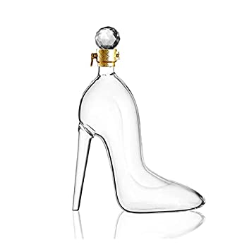 Decanters Carafes Set 350ML High Heels Shape Decanter Luxurious Crystal Red Wine Brandy Champagne Glasses Decanter Bottle Bar Nightclub Drinking 21-603  Color   Clear