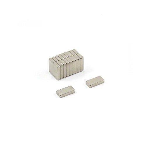 Magnetastico® 20 imanes de neodimio N52 rectangulares, 10 x 5 x 2 mm, para nevera, tablón de anuncios, imán permanente para pizarra blanca, imán rectangular