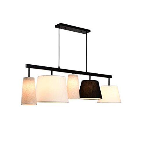 lampadario nordico RY lampadario Stile nordico minimalista creativo Art Square/rotondo 5 LED Lampadari in tessuto adatto per ristorante/bar / bar Dimensioni: 117 * 30 * 33cm Lunghezza catena 100 cm (regolabile)&