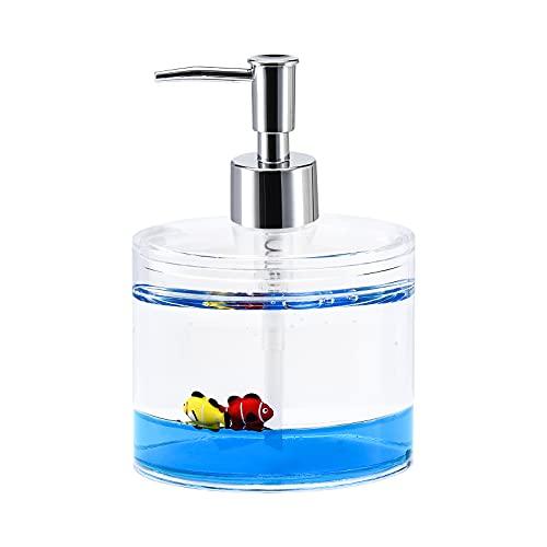 Locco Decor Acrylic Liquid 3D Floating Motion Bathroom Vanity Accessory Fish Soap Dispenser