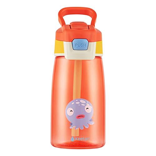 Keetan botella de agua para niños con pajita, botella reutilizable para la escuela, sin BPA, a prueba de fugas, 480ml