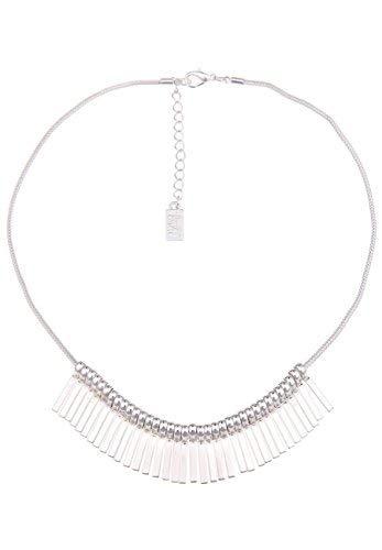 Leslii Damen-Kette Things Collier-Kette Stäbe Hochglanz Kurze Halskette Silberne Modeschmuck-Kette in Silber Glanz