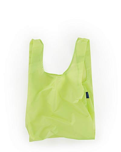 BAGGU Standard Reusable Shopping Bag, Ripstop Nylon Grocery Tote or Lunch Bag, Recycled Lime